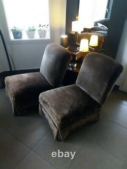 2 70' Chestnut Brown Velvet Heating Chairs. Very Good Vintage Condition