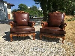 2 Leather Armchairs And Wooden Louis XV Style In Very Good Condition