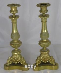 Beautiful Pair Of Bronze Candlesticks. 19th Century High. 28 CM Very Good Condition