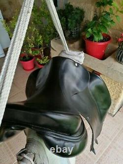 Black Hermes Dressage Saddle, Size 17.5 Inches In Very Good Condition