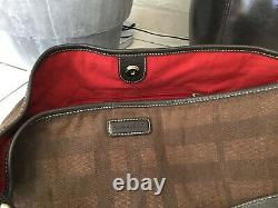 Burberry Slipper Bag Leather And Brown Canvas Very Good Condition