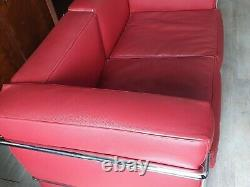 Canape Leather Occasion Red Design Very Good Condition