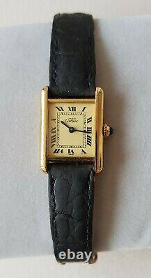 Cartier Must Watch Woman Tank Vermeil Plated Gold And Leather / Very Good Condition