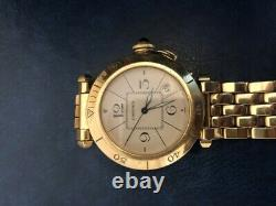 Cartier Pasha Tres Good State Watch All Gold And Sapphire With Paper