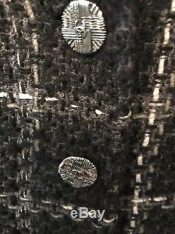 Chanel Tweed Jacket Black And Gray T40 In Very Good Condition