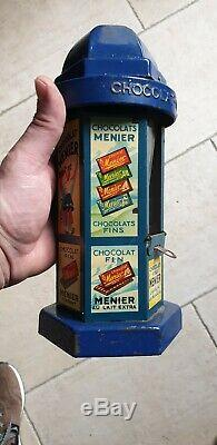 Column Chocolat Menier In Tole Advertising 1920 In Very Good Condition Distributor