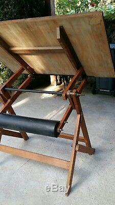Drawing Table H Morin 1935 Frame And Wooden Table 120 By 80 CM Very Good Condition