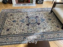 Genuine Nain Persian Hand Made 100% Blue And Beige Wool Very Good Condition