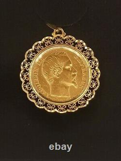 Gold Pendent 18 Fields Of 20 Francs Napoleon III Naked Head Very Good Condition