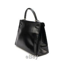 Hermes Kelly 32 Black Leather Box, Ghw, In Very Good Condition
