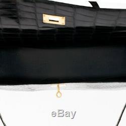 Hermès Kelly 35 Crocodile Black Porosus Shoulder Strap, Very Good Condition