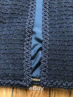 Jacket Chanel 40 Tweed Vintage Navy Blue Very Good State