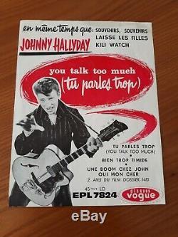 Johnny Hallyday Original Poster Vogue Epl 7824 18 X 23,5 CM Very Good 1961