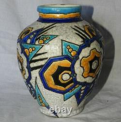 K Superb Vase Art Deco Boch And Freres La Louviere Belgium (very Good Condition)