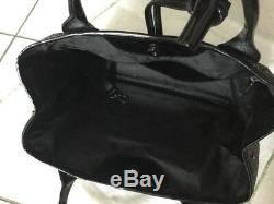 Longchamp Bag Tweed Gray And Black Patent Leather Very Good Condition