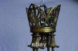 Lustre Empire In Bronze H 95 CM Diameter 60 Cm, Finely Decorated, Very Good Condition