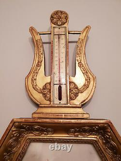 Lyre Barometer Period Restoration 1820 In Golden Wood Very Good Condition