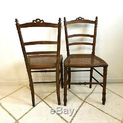 Pair Of Caned Chair Late Nineteenth Very Good Condition