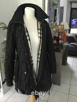 Parka Long Coat Burberry Brit Size XL Black Very Good Condition 895