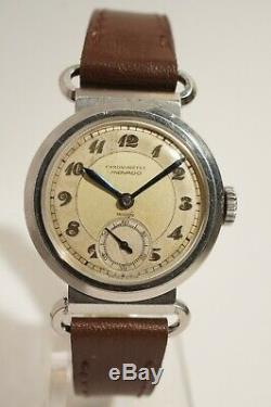 Rare Movado Chronometer Steel In Very Good Condition, Articulated Anses, 40s
