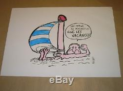 Rare Original Drawing Colors / Long Live Holidays Sign Reiser / Very Good Condition
