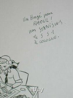 Rare Original Drawing / Hergé Signed Stanislas / Tres Good State