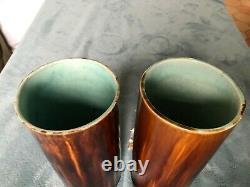 Rare Pair Of Barbotine Vases Very Good Condition