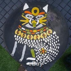 Roger Capron Flat Wall Cat Vallauris Very Good Condition Diameter 21cm