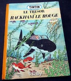 Tintin Herge Le Tresor De Rackham Le Rouge B7 1952 Medaillon Tres Bon State