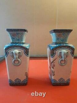 Very Good Longwy Vases With Floral And Animal Motifs