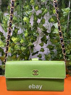 Wallet On The Chain, Chanel Camelia Wallet Bag Green America Very Good State