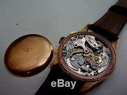 Watch Chronograph Swiss 18k Gold Very Good Condition Works Perfectly