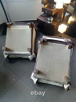 2 fauteuils chauffeuses 70' en velours marron châtaigne. Très bon état vintage