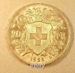 20 Fr Suisse 1922 OR très bon état