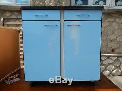 3 meubles de cuisine coordonnés en formica bleu vintage années 60 très bon état