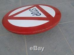 Ancien Panneau de Signalisation réformé Emaillé STOP. Très Bon état