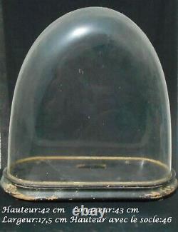 Ancien grand globe de pendule Napoléon III, mariée, verre soufflé. Très bon état