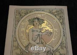Ancienne carte postale Mucha art nouveau femme hautaine vers 1900 tres bon etat