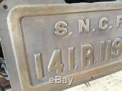 Ancienne plaque sncf locomotive train bronze 141R1193 très bon état 1930