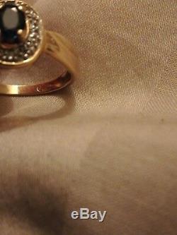 Bague or 18 carats saphir et diamants très bon état Taille 54 avec certificat