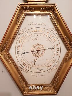 Baromètre lyre d'époque Restauration 1820 en bois doré très bon état