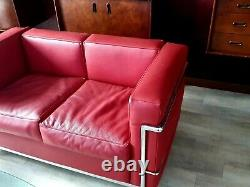 Canape cuir occasion rouge design très bon état