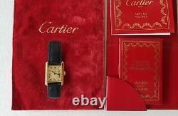 Cartier Must Montre femme Tank Vermeil plaqué or et cuir / Très bon état