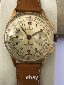 Chronographe DREFFA GENEVE Années 1950 Calibre Landeron 51 Très bon état