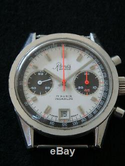 Chronographe Renis montre vintage panda, superbe! Valjoux 7734. Très bon état