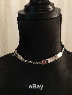 Collier Ras de cou Christian Dior Métal argenté Très Bon État avec boite