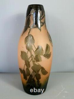 D'Argental vase en verre multicouches décor floral signé Très bon état