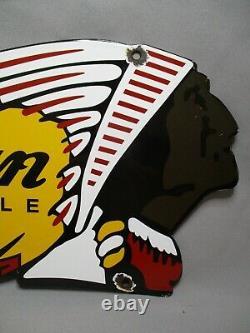 Dv10052 Plaque Emaillee Indian Motorcycle 61x19cm USA Tres Bon Etat Enamel