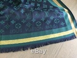Etole chèche châle LOUIS VUITTON bleu/vert/jaune Tres bon état