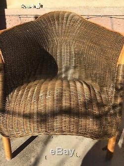 FAUTEUIL Relax / Lounge ROTIN OSIER tressé Année 70 vintage TRÈS BON ÉTAT